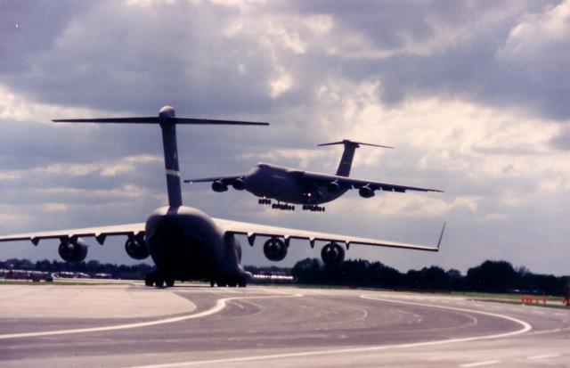C5 over C17 Mildenhall circa 1997